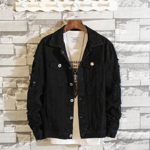Hommes Noir Blanc Casual Denim Veste Vêtements d'extérieur Jean Manteaux Nouveau Printemps Automne Hommes Trous Slim Denim Vestes Taille M-5XL
