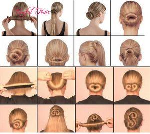 FACILE UTILIZZO DI MODA strumenti per capelli magici French Hair Ties Girl Hair Styling Donut Ex Foam Twist Magic Tools Bun Maker Blac Coffee COLORE