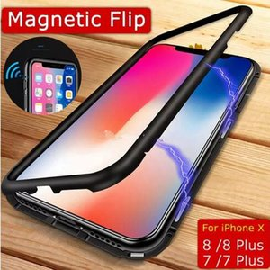 Magnet Absorption Aluminum Alloy Metal Frame Magneto Phone Cases Anti-Scratch Tempered Glass Back Cover For IPhone X 7 8 Plus