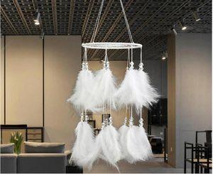 White Velvet Dream Catchers Net Hoops Wall Hanging Plaint Dreamcatcher Ornaments Wedding Decoration Accessories Birthday Gifts Craft Free Sh