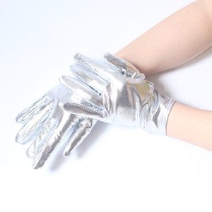 Women Sexy Short PVC Gloves Gothic Gloves Five Fingers Silver Color Wet Look Adult Evening Gloves