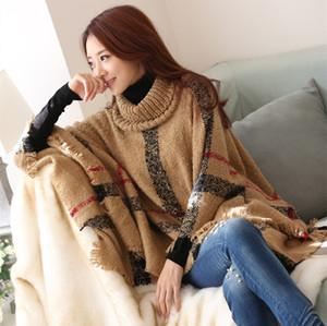 새로운 가을 겨울 여자 큰 여자 고전적인 격자 무늬 외투 높은 칼라 목도리 외투의 일종 패션 느슨한 박쥐 목도리 격자 무늬 (28 개) 색상 DHL C1549