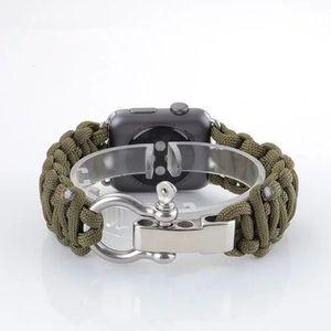Тканый нейлоновый ремешок для часов для Apple Watch iwatch 1 2 3 38мм 42мм Военный тактический шнур с парашютом для выживания Ремешок на открытом воздухе