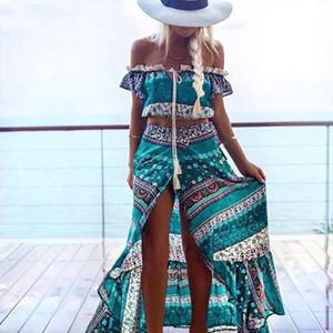Boho Druck-Sommer-Frauen-reizvoller Anzug Zweiteiler-Boot-Ausschnitt Rüschen Crop Tops + Split Lange Röcke Strand Maxiröcke Anzug Hot Sale