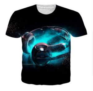 Wholesale - Newest Fashion Womens Mens Cool Headphone Funny 3D Creative Casual Hip Hop T Shirt XDX0064