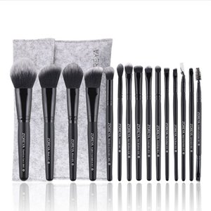 15pcs set Makeup Brush Set Rose Gold Animal Hair And Synthetic Hair Wood Handle With PU Leather Case