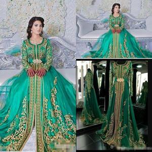 Long Sleeved Evening Dresses 2018 Emerald Green Muslim Formal Abaya Designs Dubai Turkish Gold Applique Prom Dresses Gowns Moroccan Kaftan
