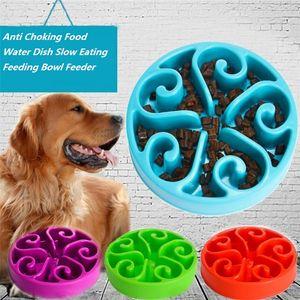 7 colores mascota perro cachorro lento comer tazón Anti asfixia alimentos agua plato lento comer alimentación tazón alimentador perro cuencos I339