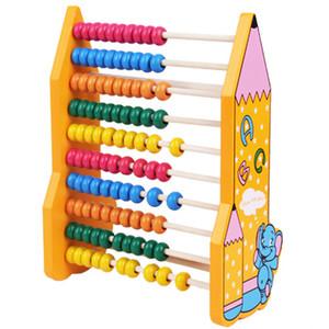 الرسوم المتحركة الملونة حبة خشبية العداد الطفل للتعليم وحساب أرقام عدد الرياضيات التعلم أداة قلم رصاص نمط العداد الإطار ألعاب خشبية