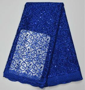 Africain Bleu Royal Africain Dentelle Tissu Guipure Paillettes Coton Cordon Tulle Nigérian Tissu Mesh Inde Dentelle Pour La Robe De Mariée