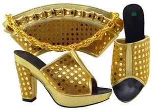 Bombas Hot wemon venda de ouro com strass sapatos africanos corresponder ao conjunto de bolsa para MM1069 vestido, 9.5CM calcanhar