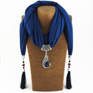 Mujeres Bufanda Collar Colgante de Piedra Naturaleza collar colgante Borla flecos Bufanda Joyería Con cuentas Joyería Étnica