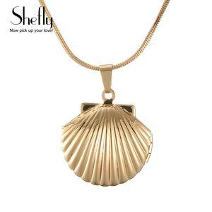 Shefly Vintage Antik Pirinç Mermaids Deniz Kabuğu Madalyon Kolye Denizcilik Seashell Madalyon Kolye Takı Doğum Günü Hediyesi XL0550