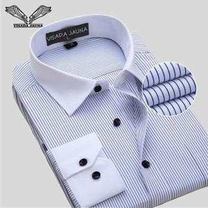 VISADA JAUNA Camisas Dos Homens de Negócios Camisa Dos Homens de Manga Longa Camisa Masculina Social Marca de Algodão Roupas Plus Size 8XL N759 Y1892101