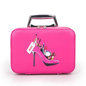 Профессиональный макияж сумка с высокой пятки Pattern Портативный мультфильм Составляют кожаный чехол красоты Дело Магистральные Ручной Coametic сумка