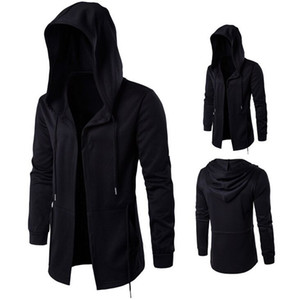 autumn dark men's clothing Male mid-length cloak Sorcerer's Cape Men's Black Hooded Jacket Large Size