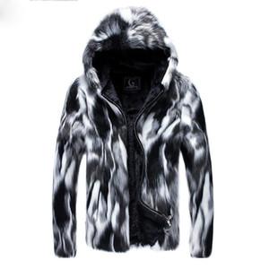 Artı boyutu 3XL Faux Kürk Erkekler Parkas Moda Yüksek Sokak Peluş astar kalınlaşma Kapşonlu kış ceket erkekler casaco masculino