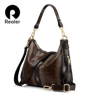 REALER femmes sacs à main en cuir véritable femme perles imprimés de poissons épaule bandoulière sac haute qualité messenger sacs totes hobos D18101303