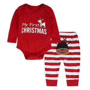 Infant Baby Girls Christmas clothes Girls Long Sleeve red Romper Stripe Pants Deer New year Jumpsuit Outfit