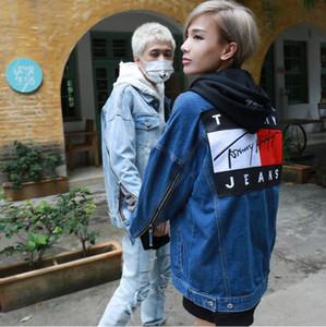 L'Europa e gli Stati Uniti Kan Ye tendenza kanye del commercio estero giacca mappa high-strada denim hip-hop giacca manica manica cerniera sezione
