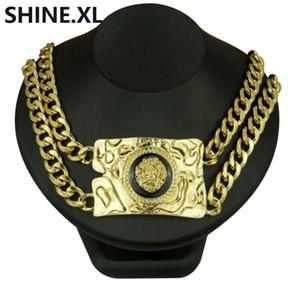 Collana Hip Hop testa di leone color oro argento accessori da nightclub esagerati Collana catena catena clavicola per uomo