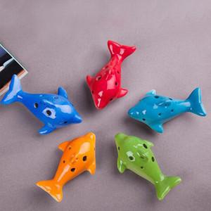 Nouveau Mignon 6 Trou En Céramique Dauphin Ocarina Jouet Éducatif Instrument de Musique Forme Animal Éducative Musique Charme Flûte