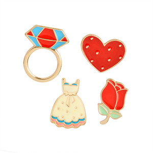 Rote Blume Rose Herz Langes Kleid Diamant Ring Abzeichen Brosche Pins Emaille Anzug Hemd Revers Pin für Frauen Kinder Geschenk Drop Shipping
