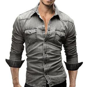 Männer Hemd Marke Männlich Langarm Shirts Casual Solid Color Denim Slim Fit Hemden Herren 3XL Kleidung mit Taschen für Männer 3 Farben