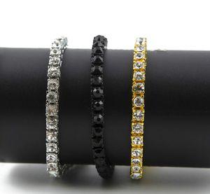 Iced Out 1 Row Rhinestones Bracelet Men's Hip Hop Style Clear Simulated Diamond 8