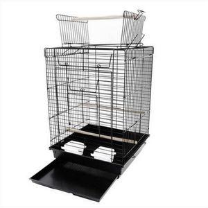 """Envío libre por mayor 23 """"jaula de pájaros suministros para mascotas jaula de metal con el juego abierto superior Jaulas de pájaros negros"""