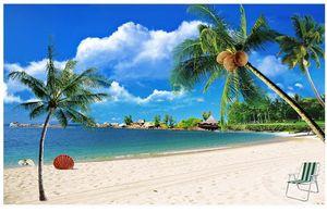 رومانسية شاطئ البحر المناظر الطبيعية التلفزيون خلفية اللوحة 3d الجداريات خلفية لغرفة المعيشة