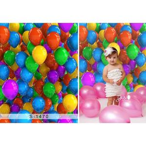 Digital Printed 3D Ballons colorés photographie décors Nouveau-né Accessoires de douche de bébé Princess Girls Birthday Party Booth Background