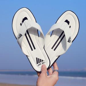 Pantofole firmati di alta qualità in pelle Pantofole comode Boy Colori misti Stripes Infradito indoor Sandali infradito da spiaggia all'aperto