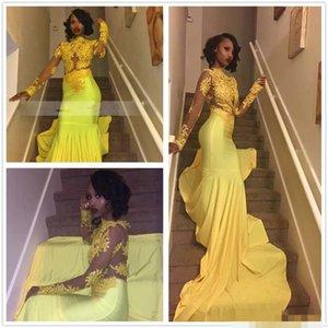 아프리카 흑인 소녀 노란색 인어 2k18 댄스 파티 드레스 긴 소매 새틴 Tulle 레이스 Applique 정장 파티 이브닝 가운