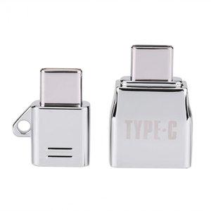 Vbestlife tipo c otg 2 pçs / sets micro usb fêmea para o tipo c usb macho otg adaptador carregador de liga de zinco conjunto terno com cordão de metal