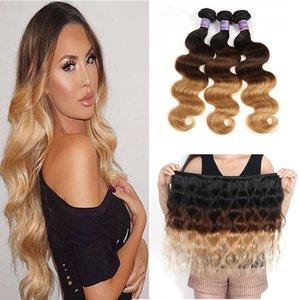 Ombre Extensions de Cheveux Humains Brésiliens Péruvien Malaisien Vague Trois Tons Brun Blond 1B / 4/27 # Colored Hair Weave 3 Bundles