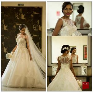 2018 쉬어 레이스 아플리케 구슬 장식 조각 웨딩 드레스 Tulle Bridal Gowns 민소매 정장 Vestidos De Novia African Style