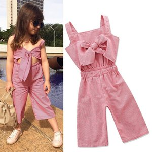 Vieeoease Girls Overalls INS Plaid Kids Clothing 2018 Summer Fashion Sleeveless Vest Bow Stripe Jumpsuits EE-471