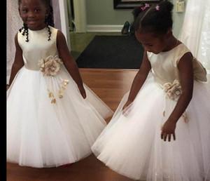 2018 linda flor menina vestidos com grande arco de cetim tule vestido de baile crianças holy primeira festa de comunhão vestidos