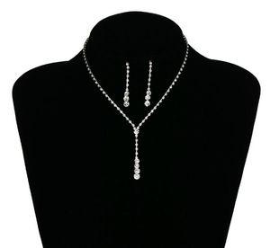 2019 Bling Kristal Gelin Takı Seti gümüş kaplama kolye elmas küpe gelin Nedime kadınlar için Düğün takı setleri Aksesuarları