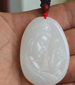 Natural Afghan Jade Deusa da Misericórdia Pingente Masculino e feminino face lateral Pingente Pingente Guanyin