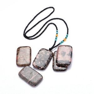 Peach Stone Big Pendant Rectangular Natural Jewelry Collana Donna Uomo Reiki Chakra Healing Gemstone collier boheme