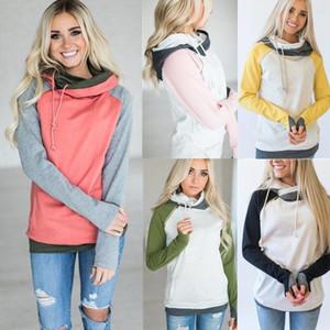 Mujeres de Alta Calidad 3XL Otoño Invierno Cálido Hoodies Sudaderas Pullover Hoodie Mujeres Patchwork Hood Hooded Sweatshirt Coat Hoody