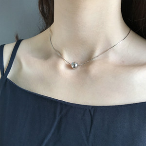 LouLeur 925 стерлингового серебра 10 мм круглый шар ожерелье темперамент личности круглый шарик подвески ожерелье для женщин мода подарок