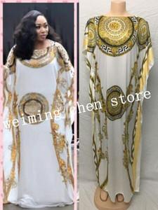 Длина платья:140 см Грудь:116 см новая мода печати рукав свободный стиль дашики полоса длинные платья для леди / женщин