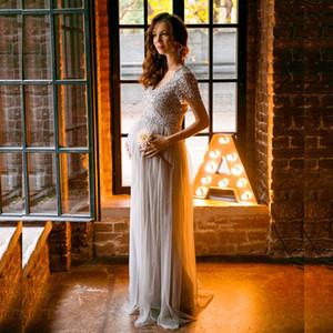 JaneVini لامعة فضية مطرزة الأعلى رمادي فساتين السهرة الطويلة للحوامل قصيرة الأكمام الأمومة حفلة موسيقية اللباس الرسمي ثوب 2018