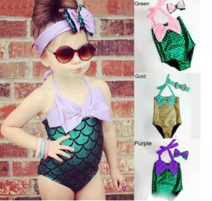 2pcs / set 수영복 + hairband 여자 인어 비키니 수영복 수영복 복장 의상 아이의 유아 수영복 수영복