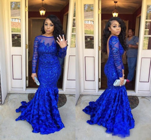 2018 Royal Blue African Lentejuela Sirena Larga Prom Dresse Mangas largas 3D de encaje sin respaldo Fiesta formal Vestidos de noche