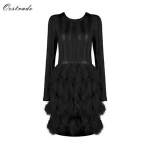 Ocstrade Vestido Bandage 2018 Новые поступления Сексуальное женское черное платье с перьями Сетка с длинными рукавами Bodycon Платья для вечеринок