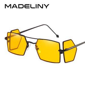 MADELINY Fashion Women Square Sunglasses Brand Design Metal Frame Personality 2018 New Black Yellow Eyewear Oculos MA272